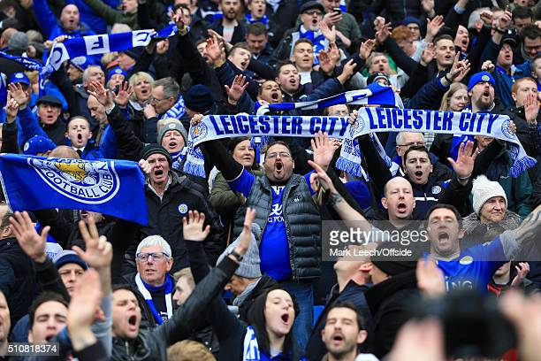 Leicester fans celebrate during the Barclays Premier League match between Manchester City and Leicester City at the Etihad Stadium on February 6 2016...