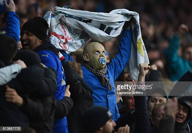 Leicester Fans celebrate during the Barclays Premier League match between Leicester City and Norwich City at The King Power Stadium on February 27...