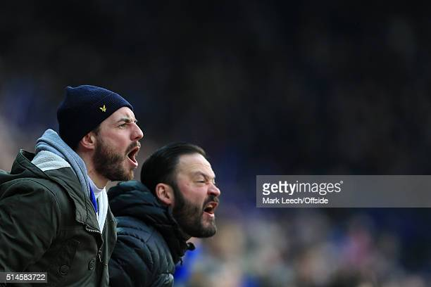 Leicester fans shout encouragement during the Barclays Premier League match between Leicester City and Norwich City at the King Power Stadium on...