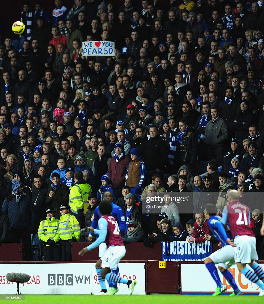 Leicester fans show their support for manager Nigel Pearson during the Barclays Pemier League match between Aston Villa and Leicester City at Villa Park on December 7, 2014 in Birmingham, England.