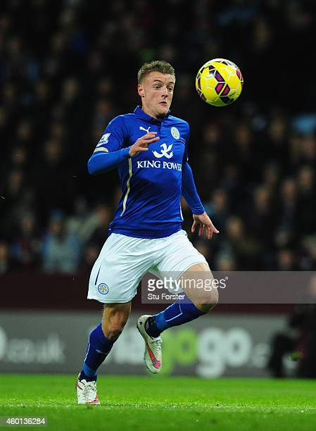 Leicester forward Jamie Vardy in action during the Barclays Pemier League match between Aston Villa and Leicester City at Villa Park on December 7...
