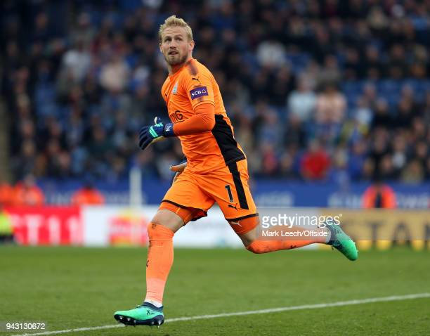Leicester goalkeeper Kasper Schmeichel during the Premier League match between Leicester City and Newcastle United at The King Power Stadium on April...