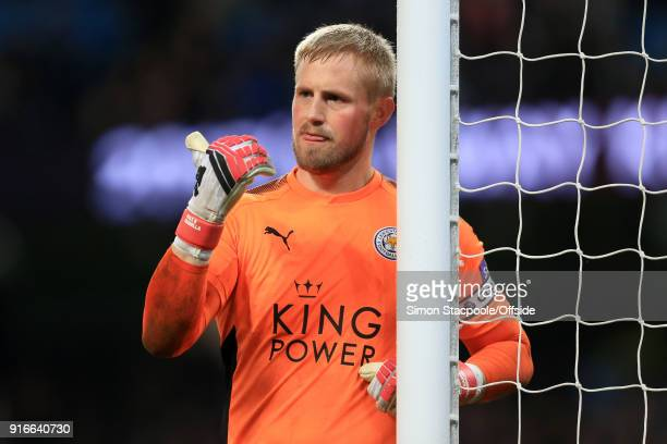 Leicester goalkeeper Kasper Schmeichel gestures during the Premier League match between Manchester City and Leicester City at the Etihad Stadium on...