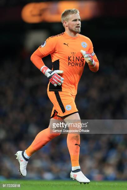 Leicester goalkeeper Kasper Schmeichel in action during the Premier League match between Manchester City and Leicester City at the Etihad Stadium on...