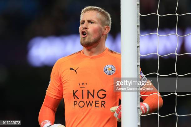 Leicester goalkeeper Kasper Schmeichel issues instructions during the Premier League match between Manchester City and Leicester City at the Etihad...