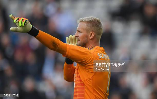 Leicester goalkeeper Kasper Schmeichel reacts during the Premier League match between Newcastle United and Leicester City at St James Park on...