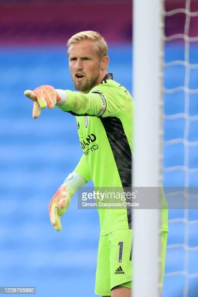 Leicester goalkeeper Kasper Schmeichel shouts during the Premier League match between Manchester City and Leicester City at Etihad Stadium on...
