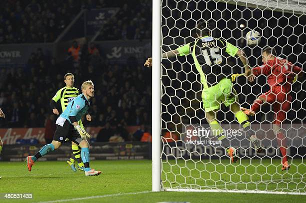 Leicester goalkeeper Kasper Schmeichel takes a shot at goal which was headed into the net by his teammate Chris Wood to make it 11 during the Sky Bet...