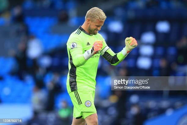 Leicester goalkeeper Kasper Scmeichel celebrates their 4th goal during the Premier League match between Manchester City and Leicester City at Etihad...