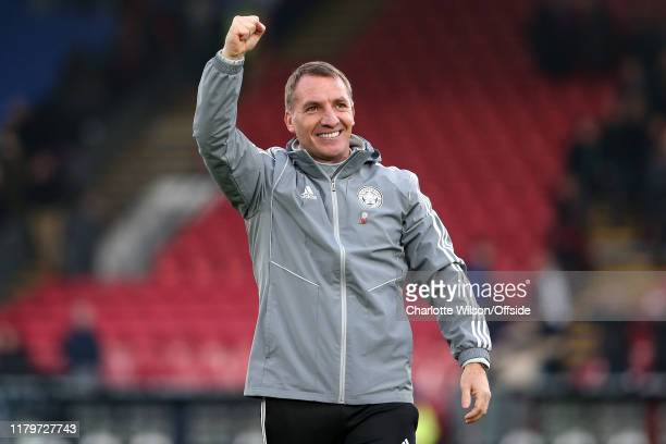 Leicester manager Brendan Rodgers celebrates their win during the Premier League match between Crystal Palace and Leicester City at Selhurst Park on...