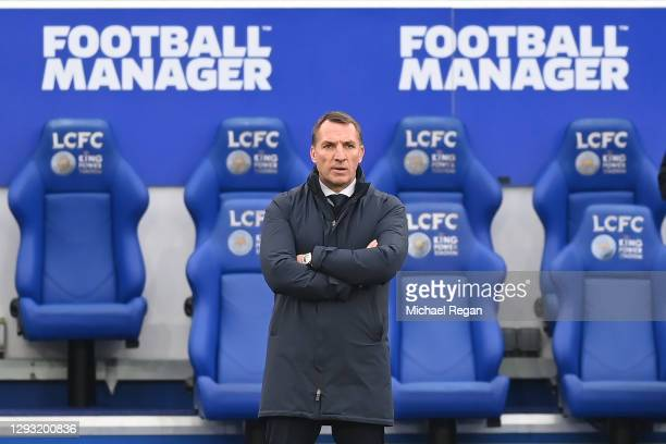 Leicester manager Brendan Rodgers looks on during the Premier League match between Leicester City and Manchester United at The King Power Stadium on...