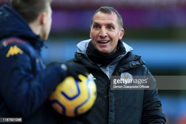 Leicester manager Brendan Rodgers looks surprised as a ball boy refuses to give him the ball during the Premier League match between Aston Villa and...