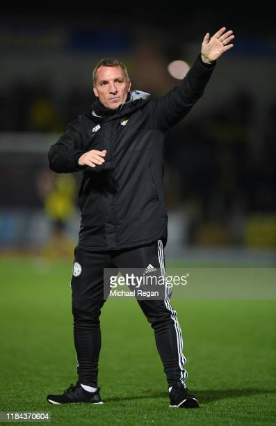 Leicester manager Brendan Rodgers salutes the fans after the Carabao Cup Round of 16 match between Burton Albion and Leicester City at Pirelli...