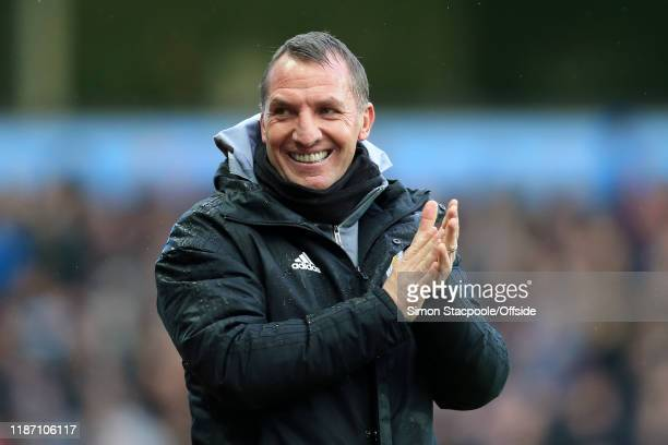 Leicester manager Brendan Rodgers smiles during the Premier League match between Aston Villa and Leicester City at Villa Park on December 8 2019 in...