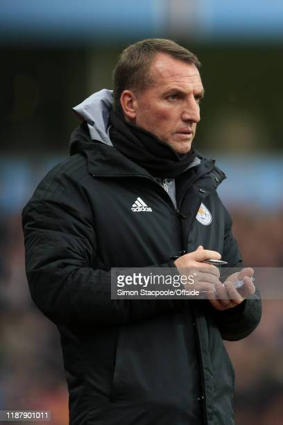 Leicester manager Brendan Rodgers writes on his notepad during the Premier League match between Aston Villa and Leicester City at Villa Park on...