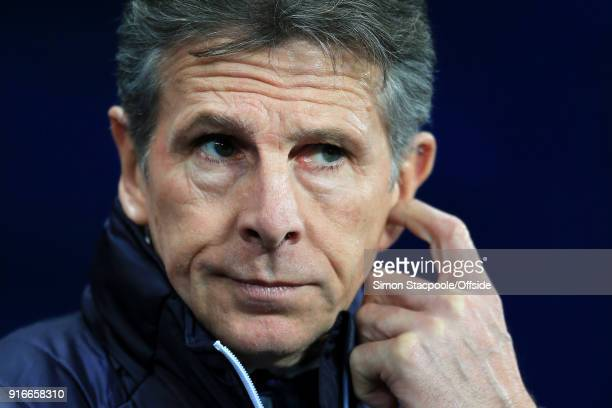 Leicester manager Claude Puel looks dejected during the Premier League match between Manchester City and Leicester City at the Etihad Stadium on...
