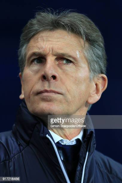 Leicester manager Claude Puel looks on during the Premier League match between Manchester City and Leicester City at the Etihad Stadium on February...
