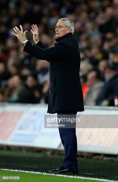 Leicester manager Claudio Ranieri gives instructions during the Barclays Premier League match between Swansea City and Leicester City at Liberty...
