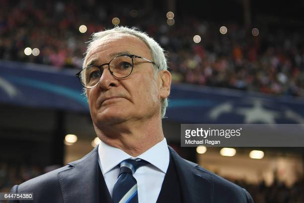 Leicester manager Claudio Ranieri looks on during the UEFA Champions League Round of 16 first leg match between Sevilla FC and Leicester City at...