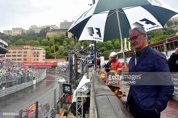 Leicester manager Claudio Ranieri walks in the pit lane at the Monaco street circuit on May 29 2016 in Monaco during the Monaco Formula 1 Grand Prix...