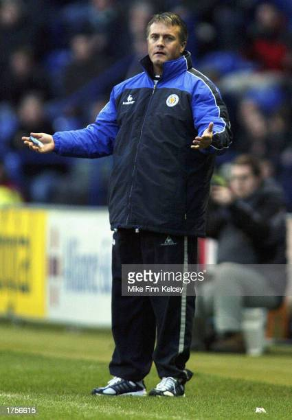 Leicester manager Micky Adams shrugs his shoulders on the sidelines during the Nationwide League Division One match between Leicester City and...