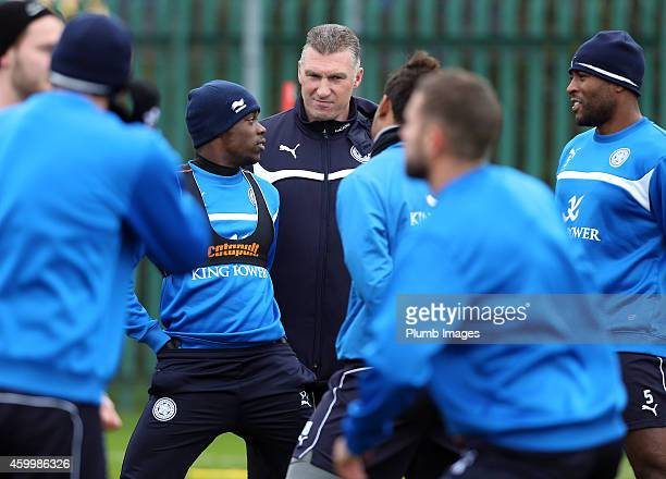 Leicester manager Nigel Pearson during the Leicester City training session at Belvoir Drive Training Ground on December 5 2014 in Leicester England