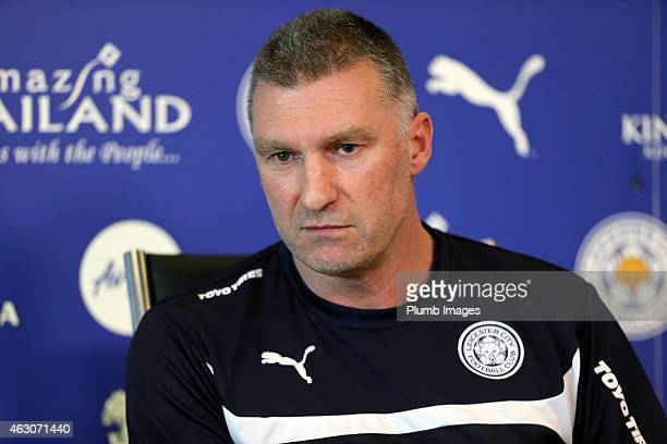 Leicester manager Nigel Pearson talks to the media during the Leicester City training press Conference at Belvoir Drive Training Ground on February...