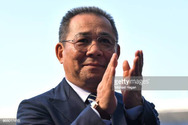 Leicester owner Vichai Srivaddhanaprabha looks on following the Premier League match between Leicester City and West Ham United at The King Power...