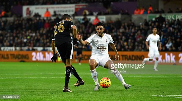 Leicester player Riyad Mahrez scores the second goal during the Barclays Premier League match between Swansea City and Leicester City at Liberty...