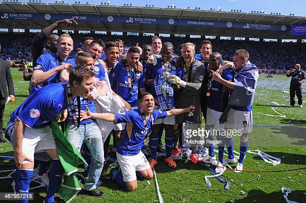 Leicester players celebrate after the Sky Bet Championship match between Leicester City and Doncaster Rovers at The King Power Stadium on May 3 2014...