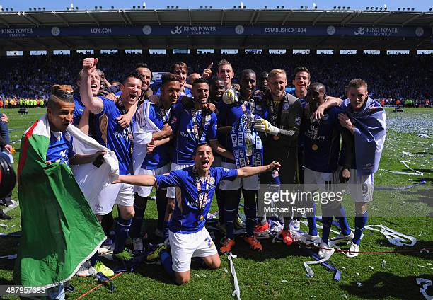 Leicester players celebrate after the Sky Bet Championship match between Leicester City and Doncaster Rovers at The King Power Stadium on May 3, 2014...
