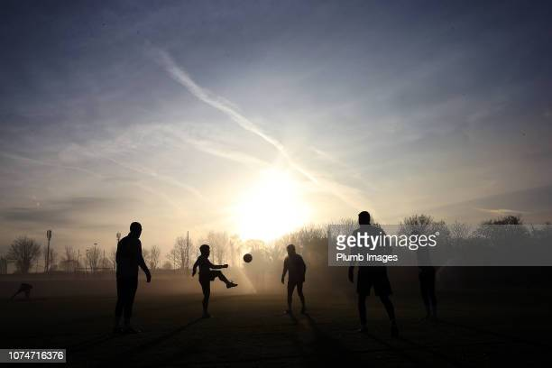 Leicester players make their way out to training during the Leicester City training session at Belvoir Drive Training Complex on December 24, 2018 in...