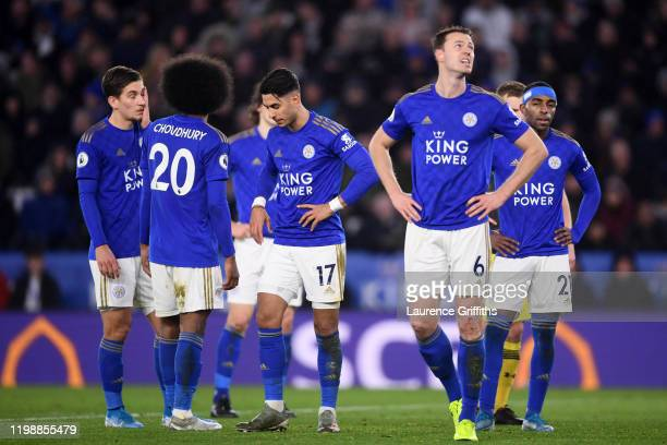 Leicester players wait for a VAR review during the Premier League match between Leicester City and Southampton FC at The King Power Stadium on...