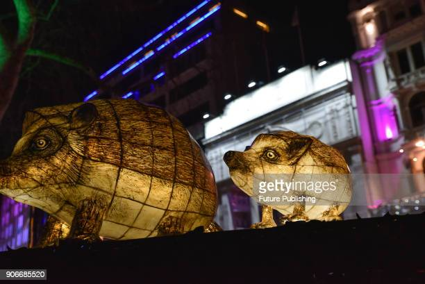 KINGDOM JANUARY Leicester Square Lantern Company with Jo Pocock Nightlife The Lumiere London arts festivalPHOTOGRAPH BY Matthew Chattle / Barcroft...