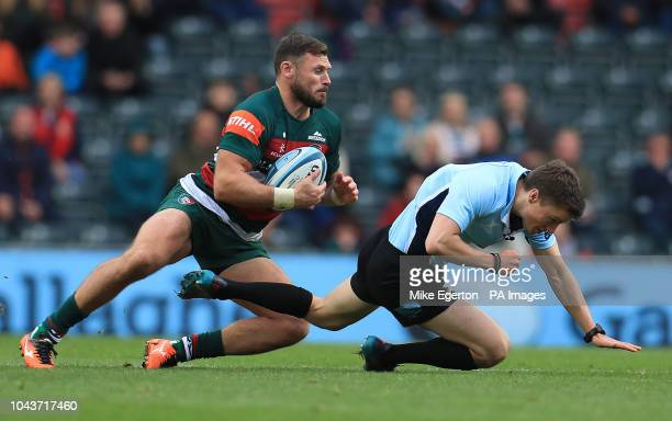 Leicester Tigers' Adam Thompson collides with referee Craig MaxwellKeys during the Gallagher Premiership match at Welford Road Leicester