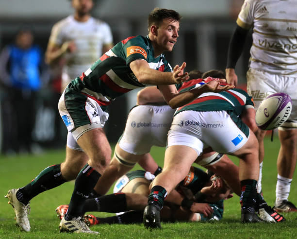 Leicester Tigers' Ben White passes the ball during the European Challenge Cup match at Welford Road, Leicester. (Photo by Mike Egerton/PA Images via Getty Images)