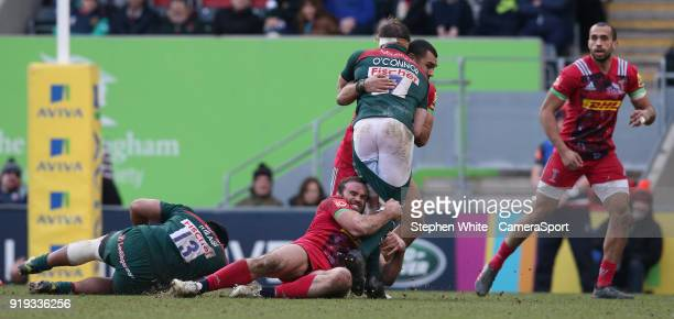 Leicester Tigers' Brendon O'Connor is tackled by Harlequins' Jamie Roberts during the Aviva Premiership match between Leicester Tigers and Harlequins...
