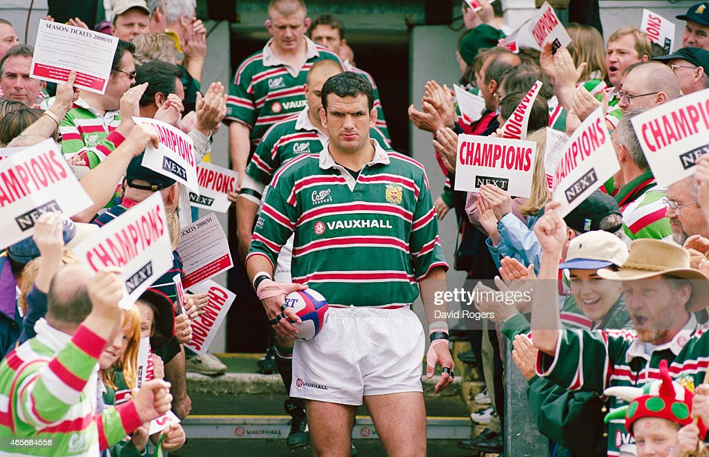 Leicester Tigers captain Martin Johnson leads his team out before an Allied Dunbar Premier match between Leicester and Bath at Welford Road on May 21, 2000 in Leicester, England.