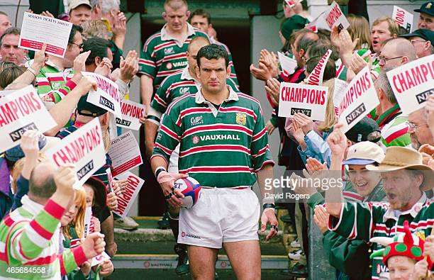 Leicester Tigers captain Martin Johnson leads his team out before an Allied Dunbar Premier match between Leicester and Bath at Welford Road on May...