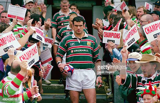 Leicester Tigers captain Martin Johnson leads his team out before an Allied Dunbar Premier match between Leicester and Bath at Welford Road on May 21...