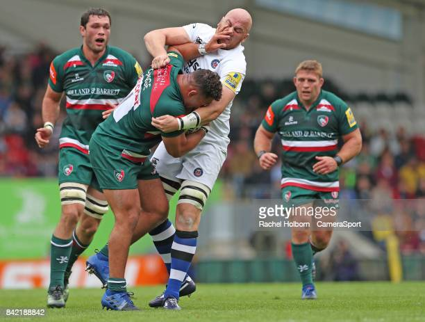 Leicester Tigers' Ellis Genge during the Aviva Premiership match between Leicester Tigers and Bath Rugby at Welford Road on September 3 2017 in...