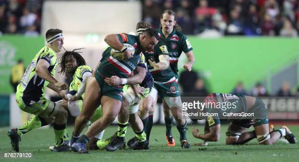 Leicester Tigers' Ellis Genge during the Aviva Premiership match between Leicester Tigers and Sale Sharks at Welford Road on November 19 2017 in...
