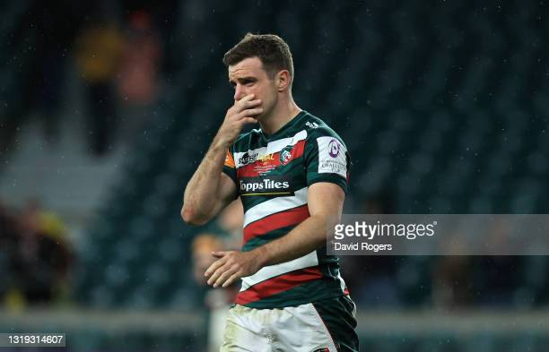Leicester Tigers fly half George Ford reacts dejectedly after the European Rugby Challenge Cup Final match between Leicester Tigers and Montpellier...