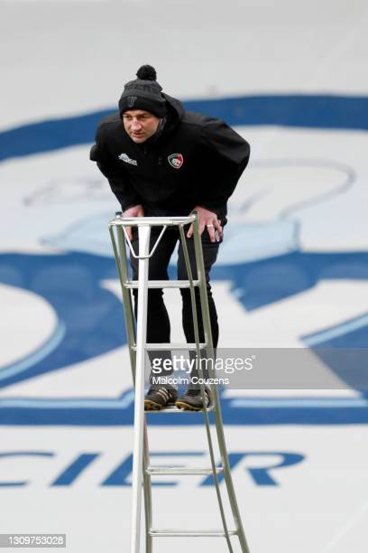 Leicester Tigers Head Coach Steve Borthwick looks on from a ladder during the Gallagher Premiership Rugby match between Leicester Tigers and...