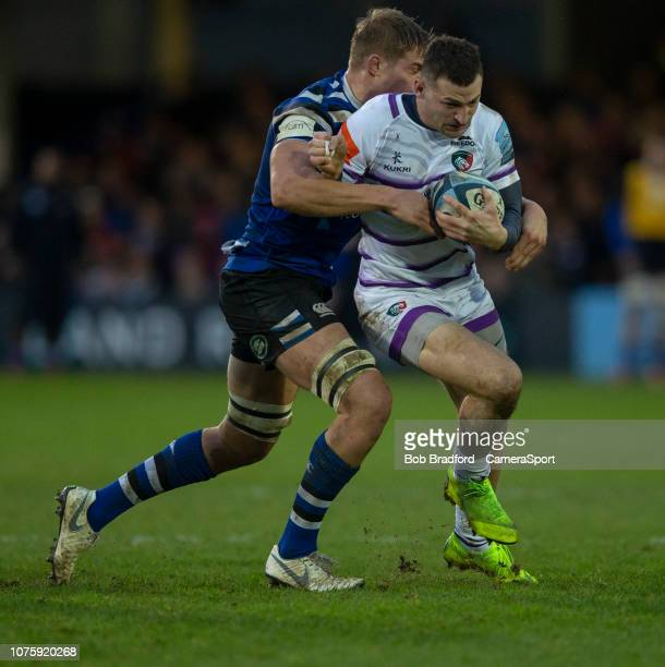 Leicester Tigers Jonny May is tackled by Bath Rugby's Tom Ellis during the Gallagher Premiership Rugby match between Bath Rugby and Leicester Tigers...