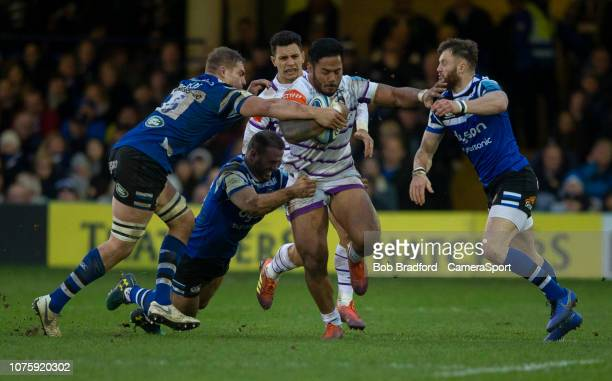 Leicester Tigers Manu Tuilagi in action during the Gallagher Premiership Rugby match between Bath Rugby and Leicester Tigers at Recreation Ground on...