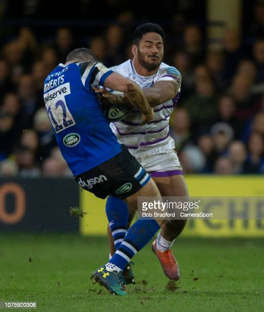 Leicester Tigers Manu Tuilagi is tackled by Bath Rugby's Jamie Roberts during the Gallagher Premiership Rugby match between Bath Rugby and Leicester...