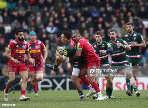 Leicester Tigers' Matt Toomua and Harlequins' Kyle Sinckler during the Aviva Premiership match between Leicester Tigers and Harlequins at Welford...