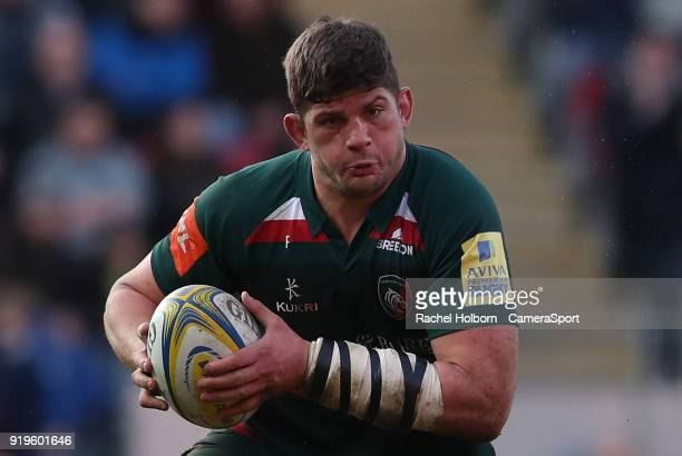 Leicester Tigers' Mike Williams during the Aviva Premiership match between Leicester Tigers and Harlequins at Welford Road on February 17 2018 in...