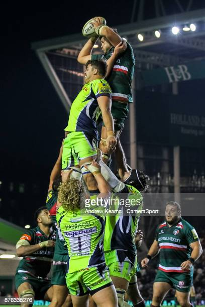 Leicester Tigers' Mike Williams wins line out ball during the Aviva Premiership match between Leicester Tigers and Sale Sharks at Welford Road on...